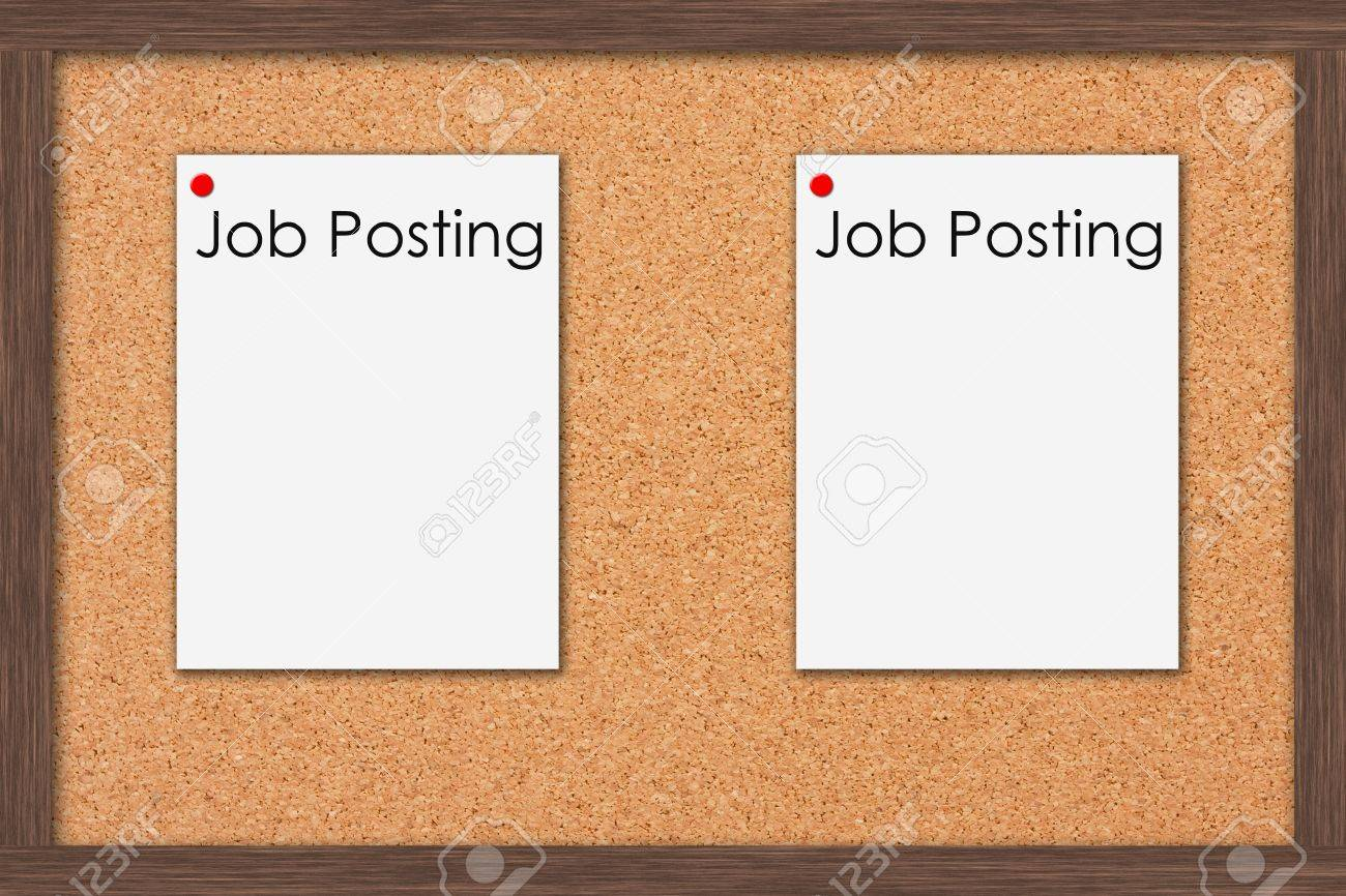 A cork bulletin board with job postings and a wooden frame job a cork bulletin board with job postings and a wooden frame job postings stock photo jeuxipadfo Gallery