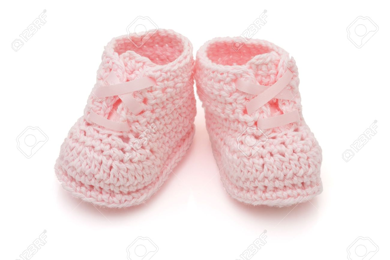 3e93bbf843d20 Handmade Pink Baby Booties Isolated On A White Background Stock ...
