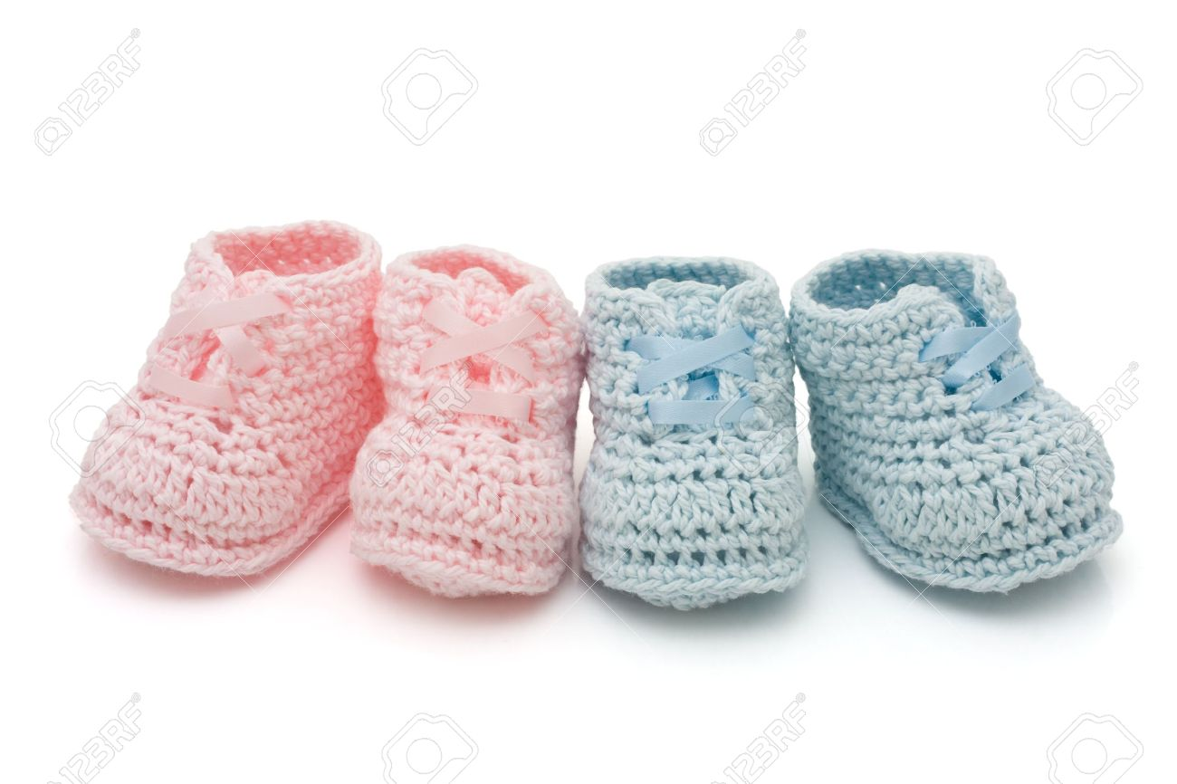 Handmade Pink And Blue Baby Booties