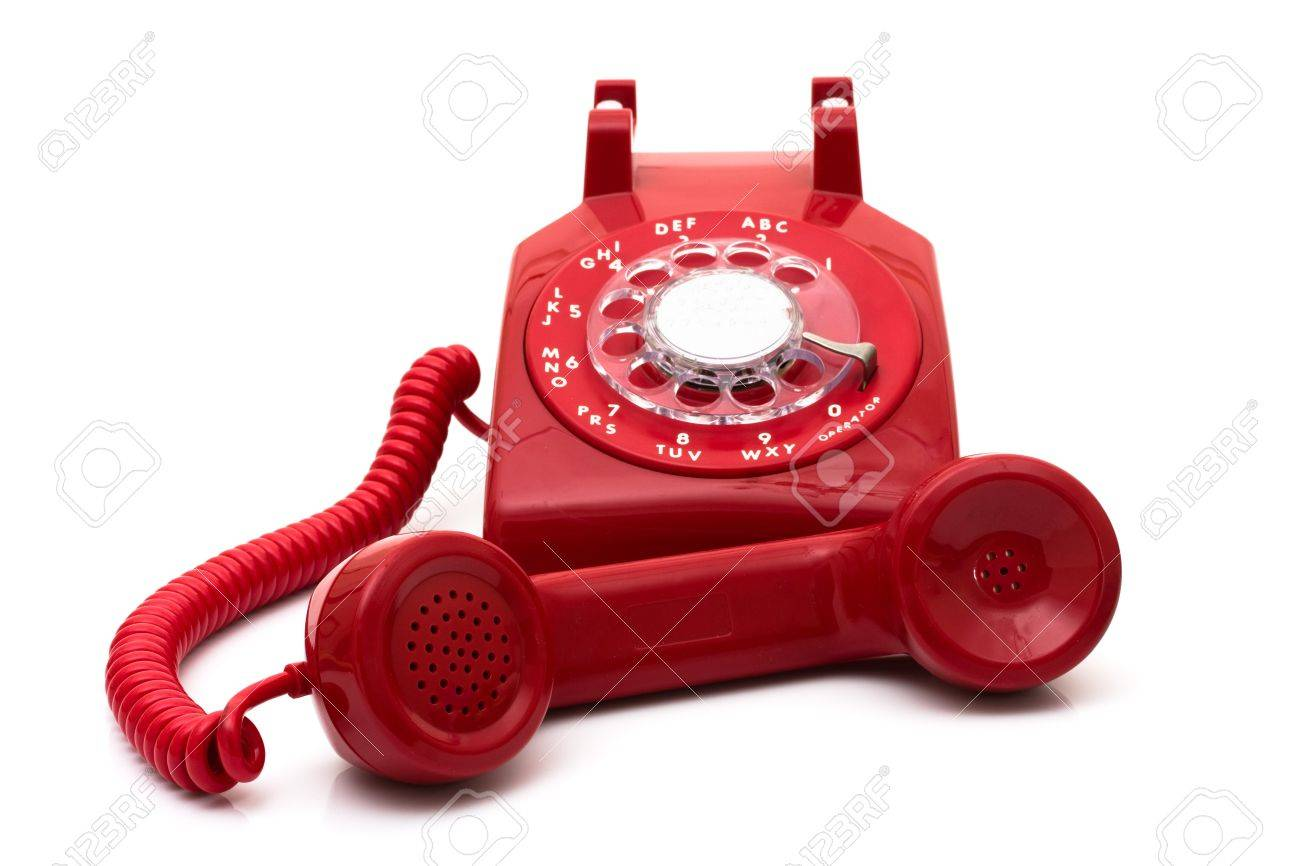 A red retro telephone isolated on white, Call for help Stock Photo - 7633227