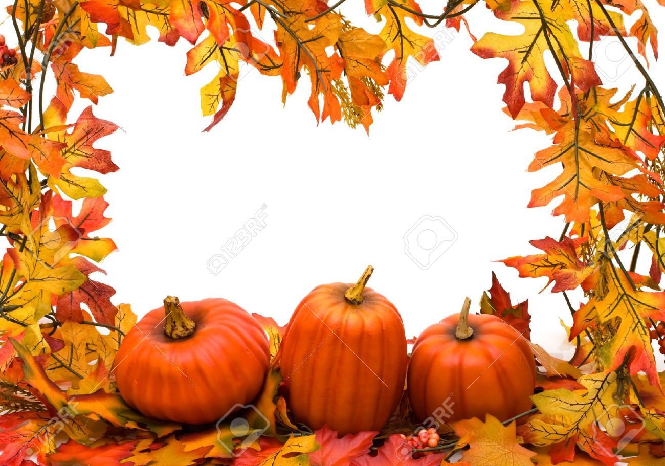fall leaves with pumpkins isolated on white fall border stock photo 7662075 - Fall Pumpkins