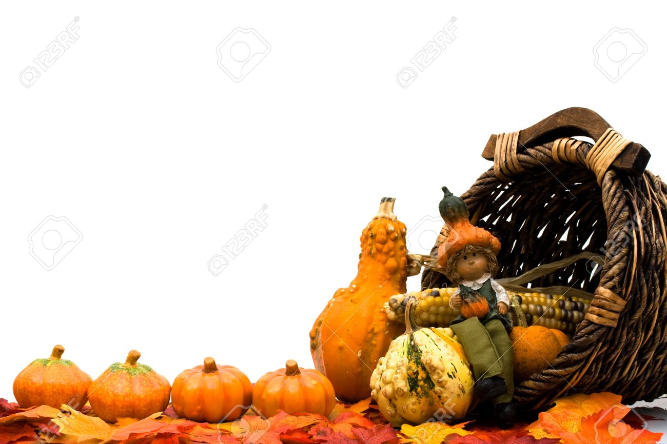 Fall leaves with a pumpkins, gourds and a basket isolated on a white background, Fall Scene Stock Photo - 8065455