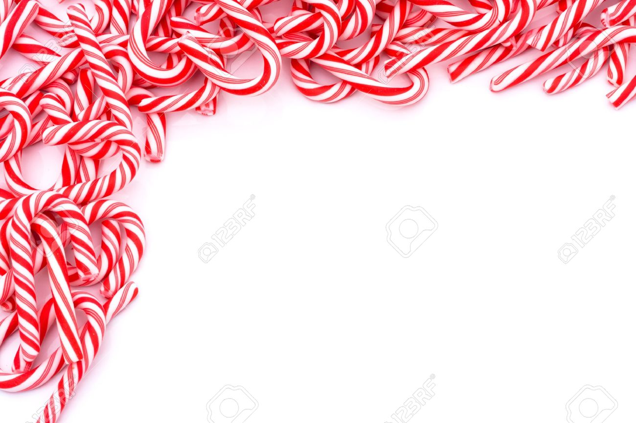Mini Candy Canes Making A Border On A White Background, Christmas ...