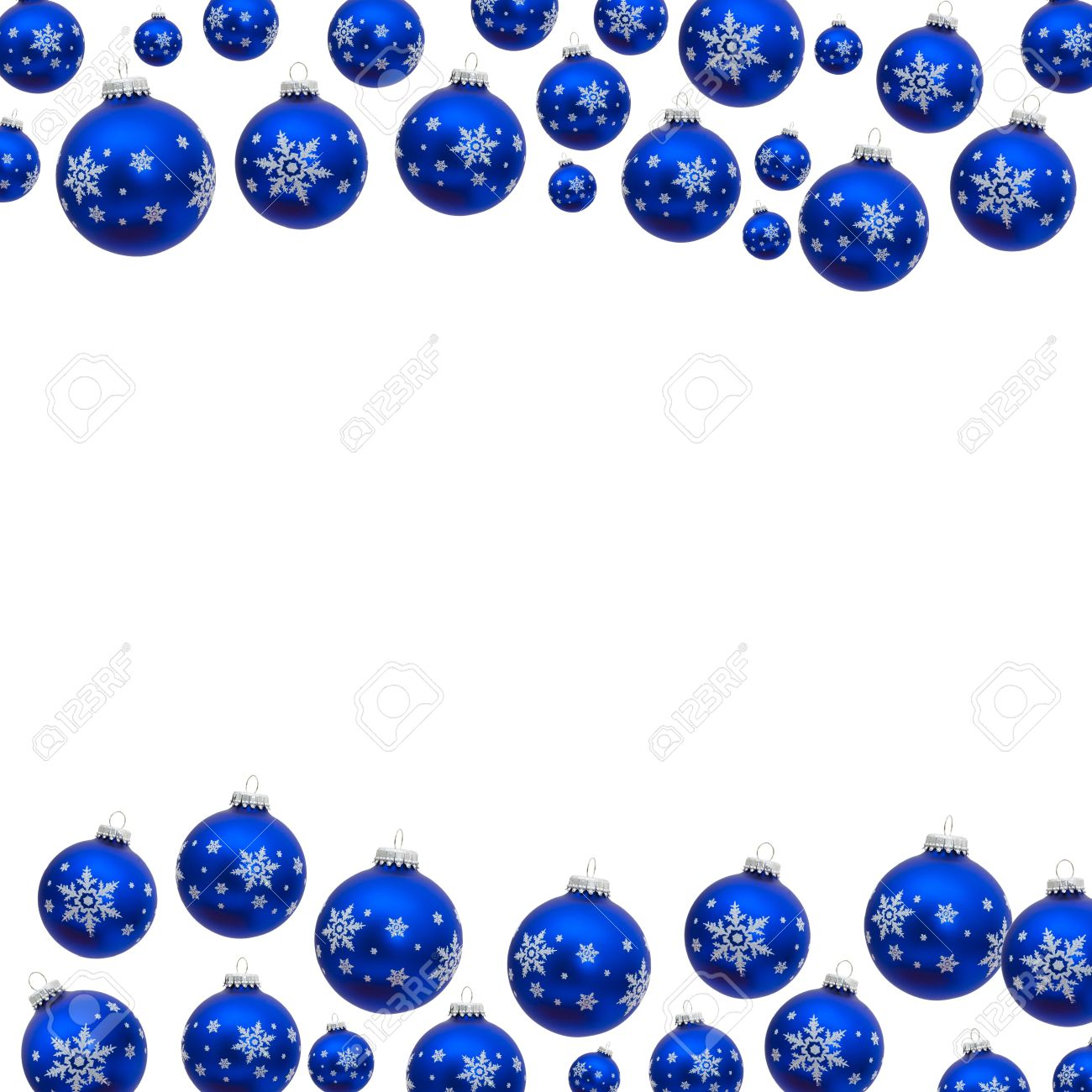 Blue Christmas Balls Making A Border With White Background Stock Photo