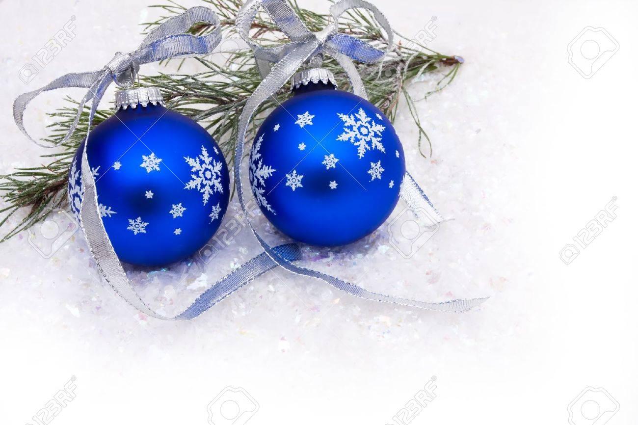 Blue Christmas Balls On A Snow Background, Christmas Time Stock ...