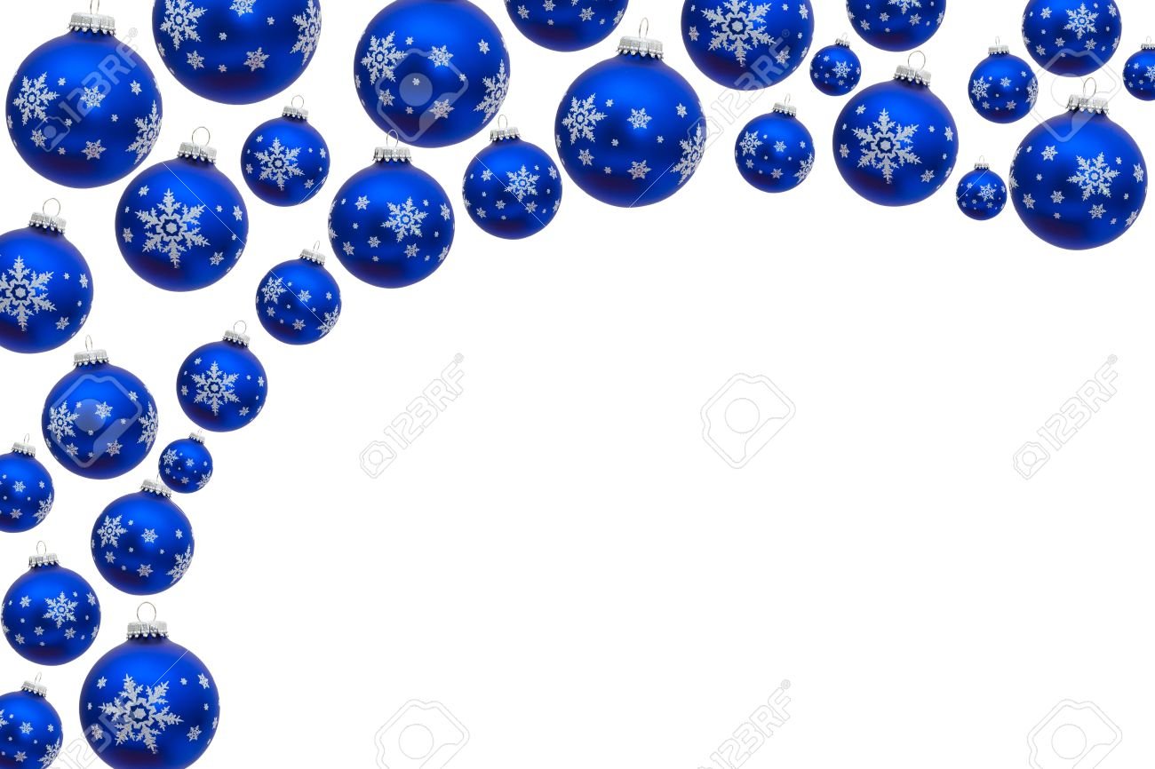 Blue Christmas Balls Making A Border With White Background ...