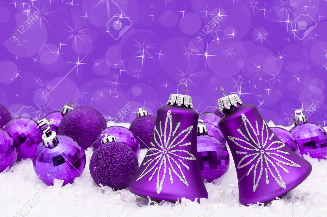 Lavender christmas ornaments - Purple Christmas Balls On A Snow And Purple Background Christmas Time Stock Photo 8388399