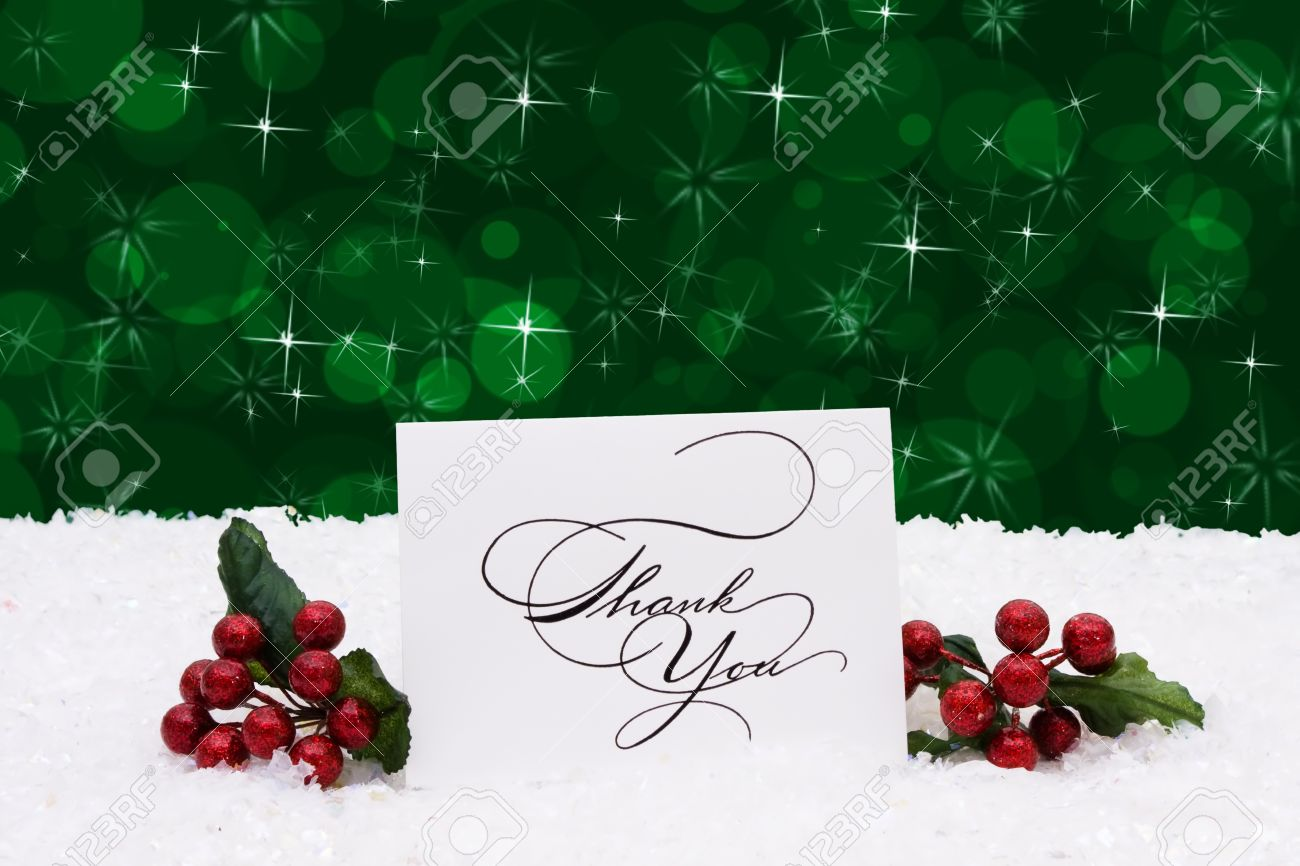 A Thank You Card Sitting On Snow With A Green Background, Christmas ...