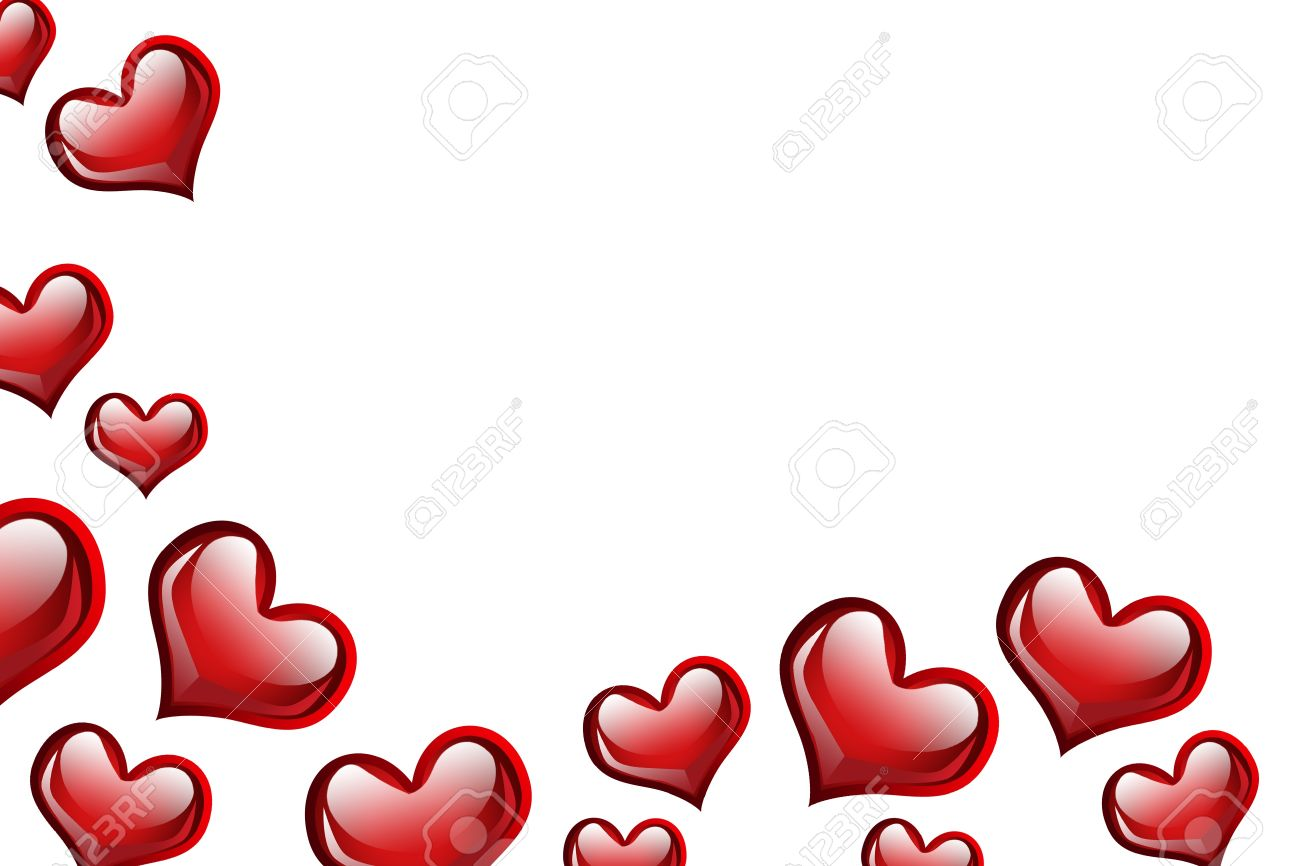 red hearts on a white background love background stock photo