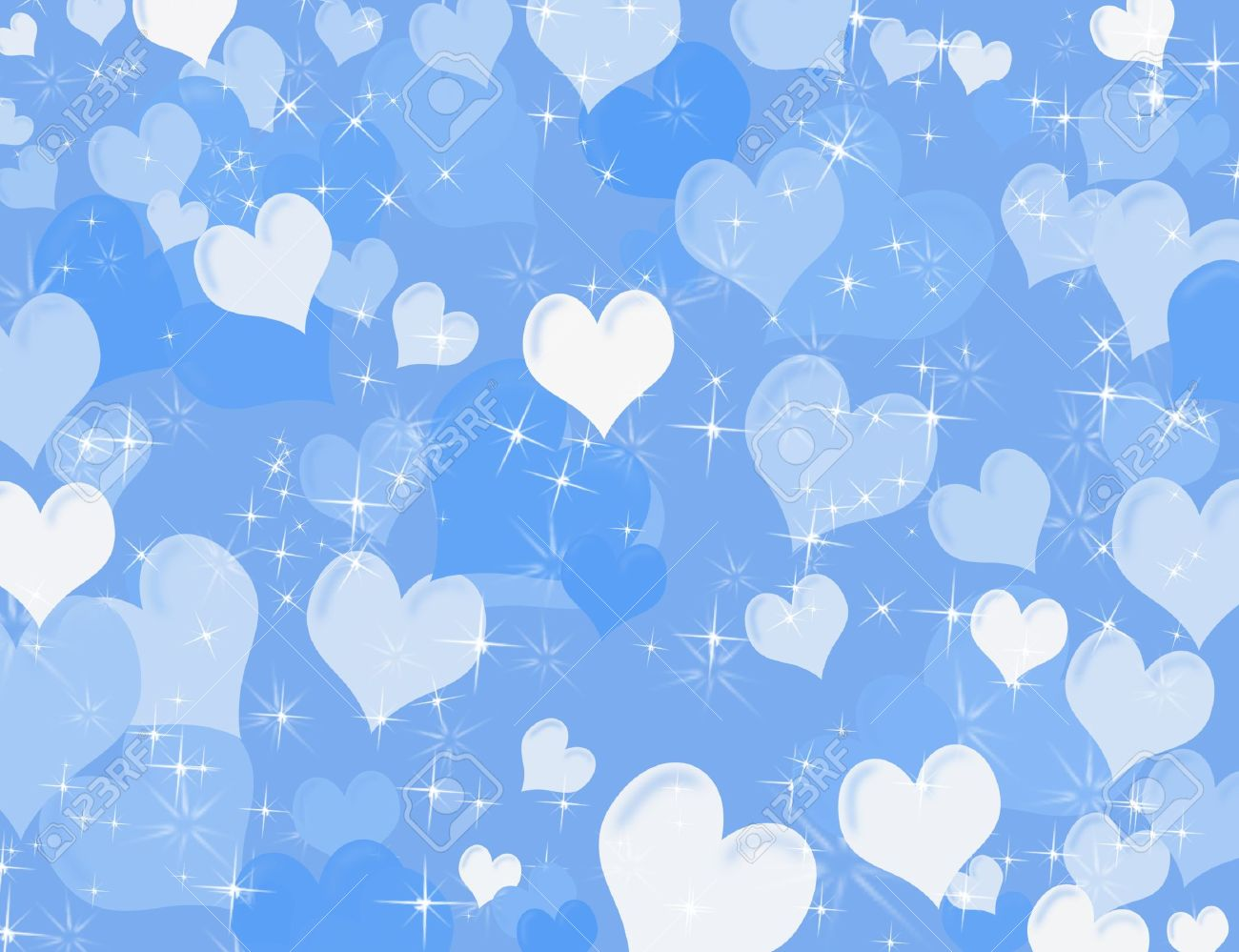 White And Blue Hearts On A Sparkly Background Heart