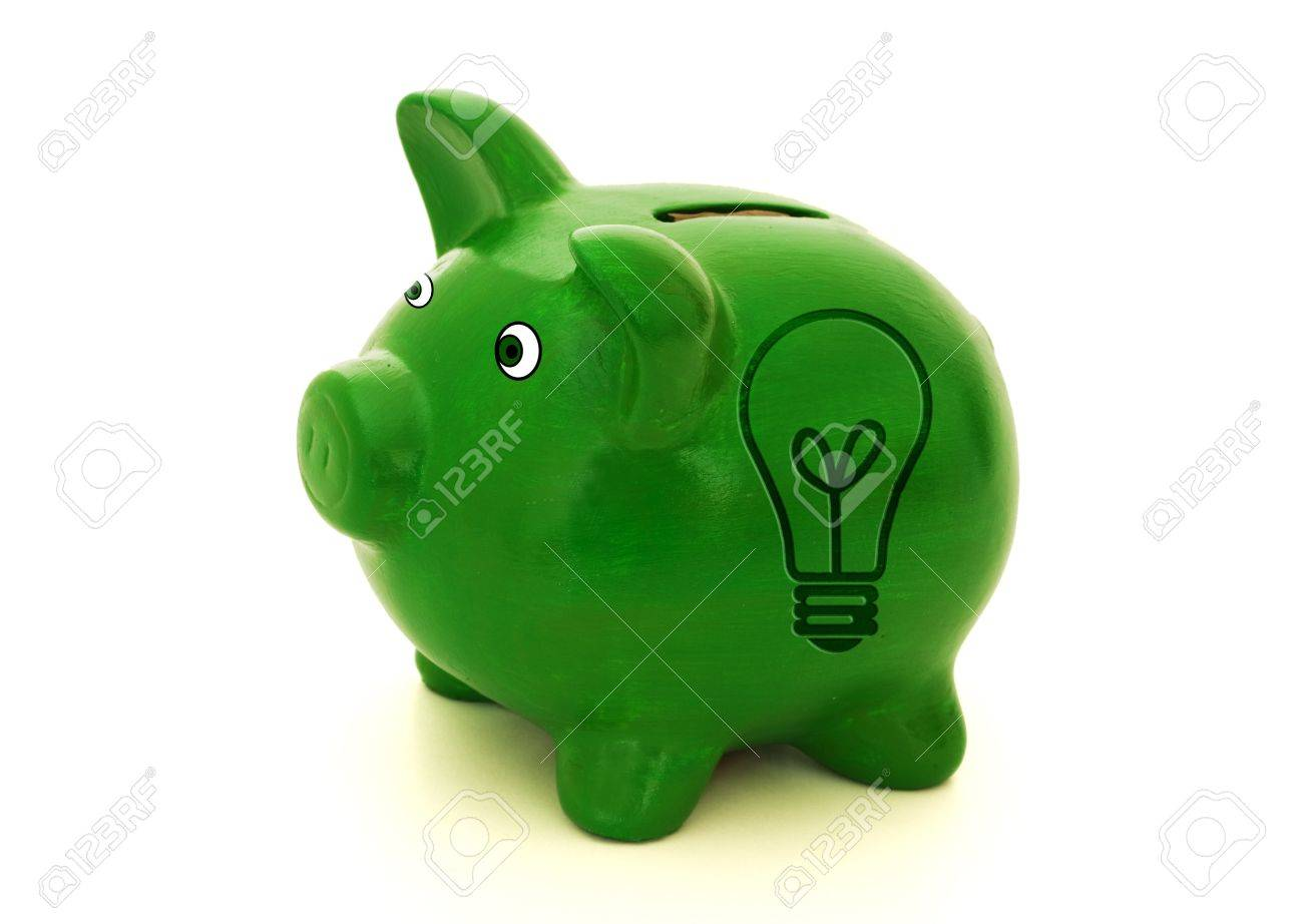 A green piggy bank with a light bulb symbol on a white background, Ideas for saving money Stock Photo - 9514305