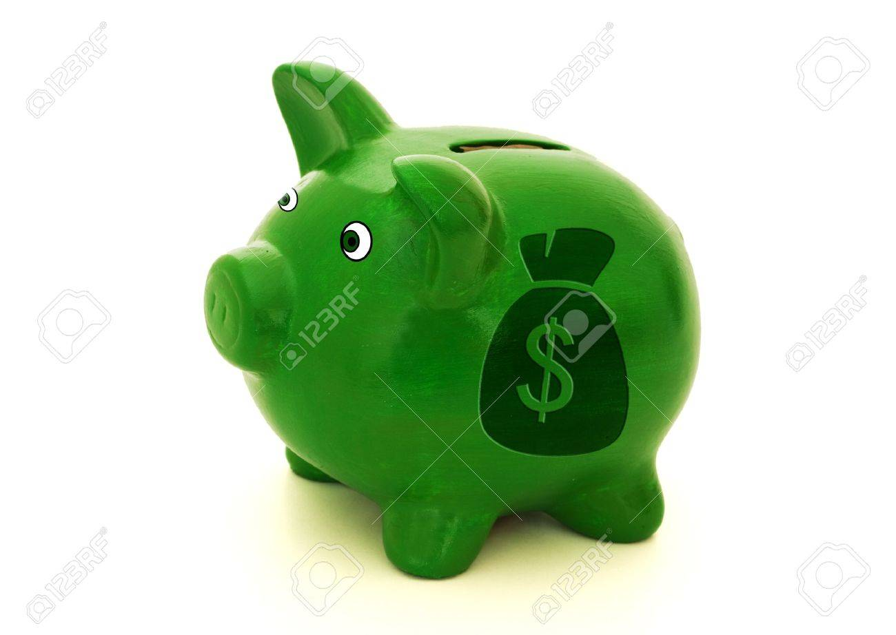 A green piggy bank with a money bag on a white background, Lots of Money Stock Photo - 9514344
