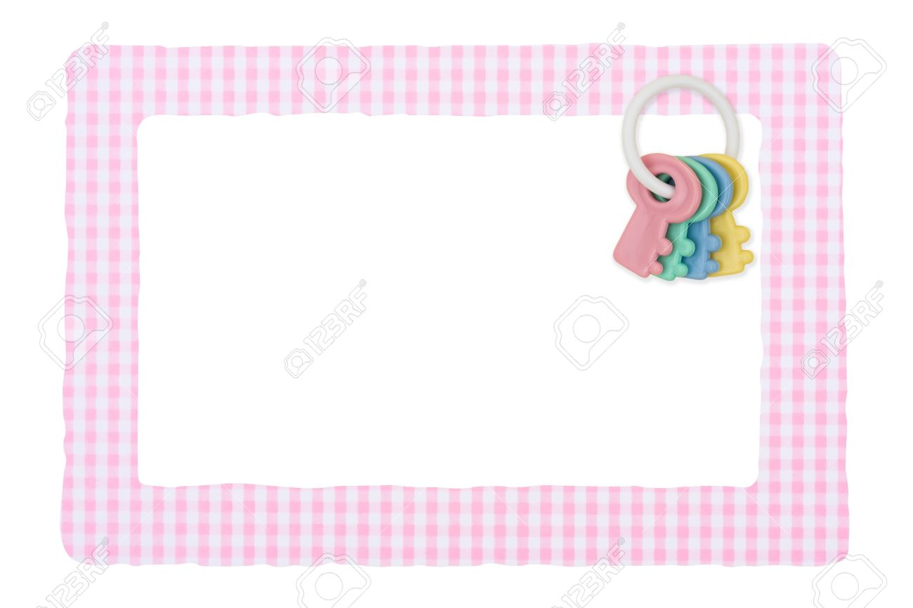 A Baby Girl Frame For Message Or Invitation Isolated On White Stock ...