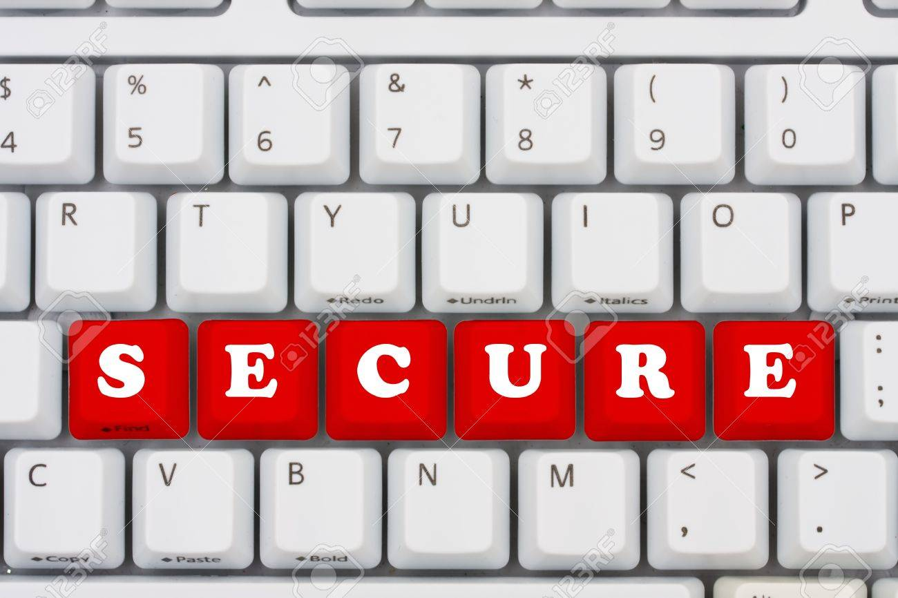 Computer keyboard keys displaying the word secure, computer security Stock Photo - 9559418