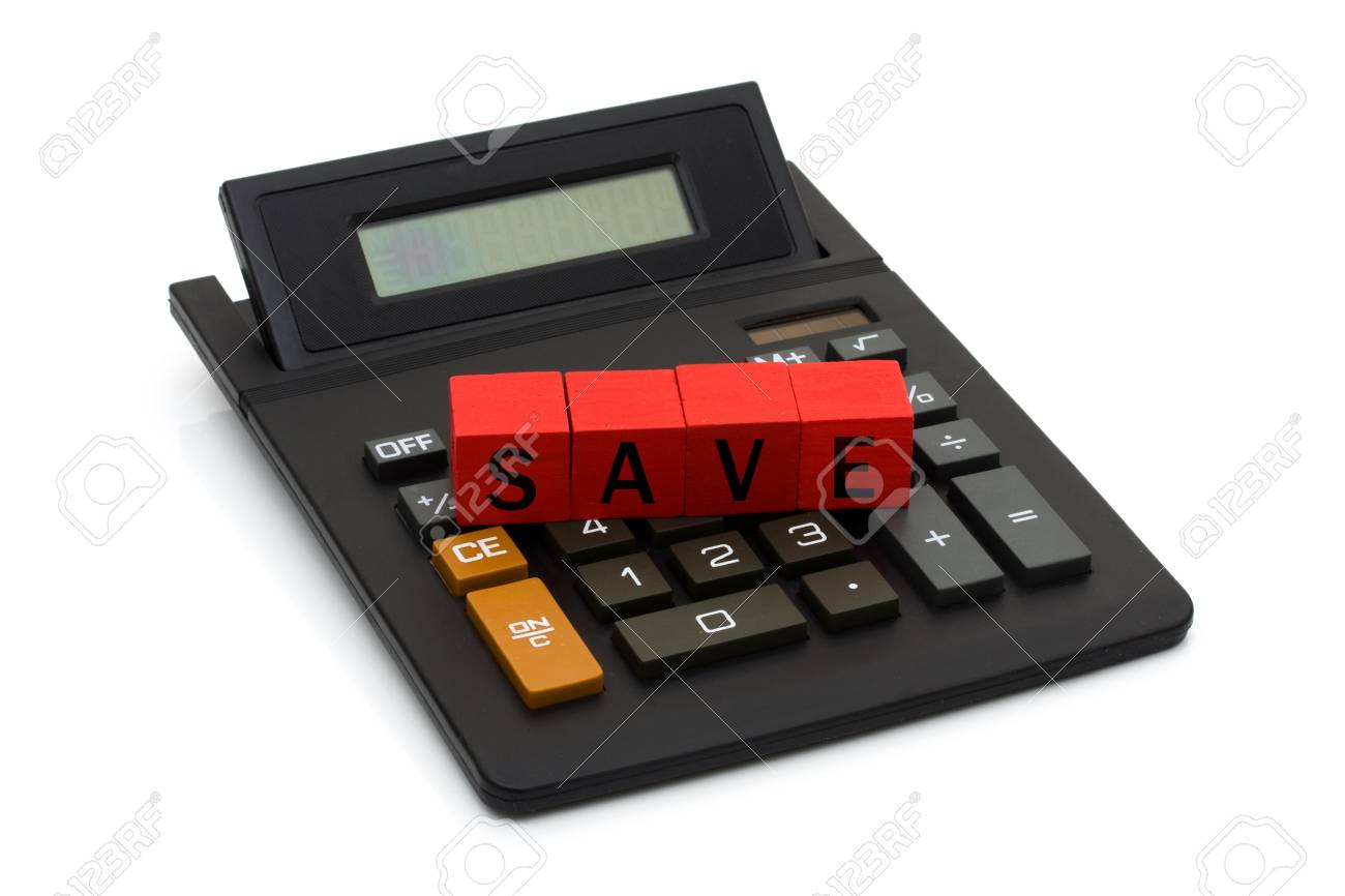 A black calculator with blocks spelling save isolated on white, Calculating your savings Stock Photo - 9882541