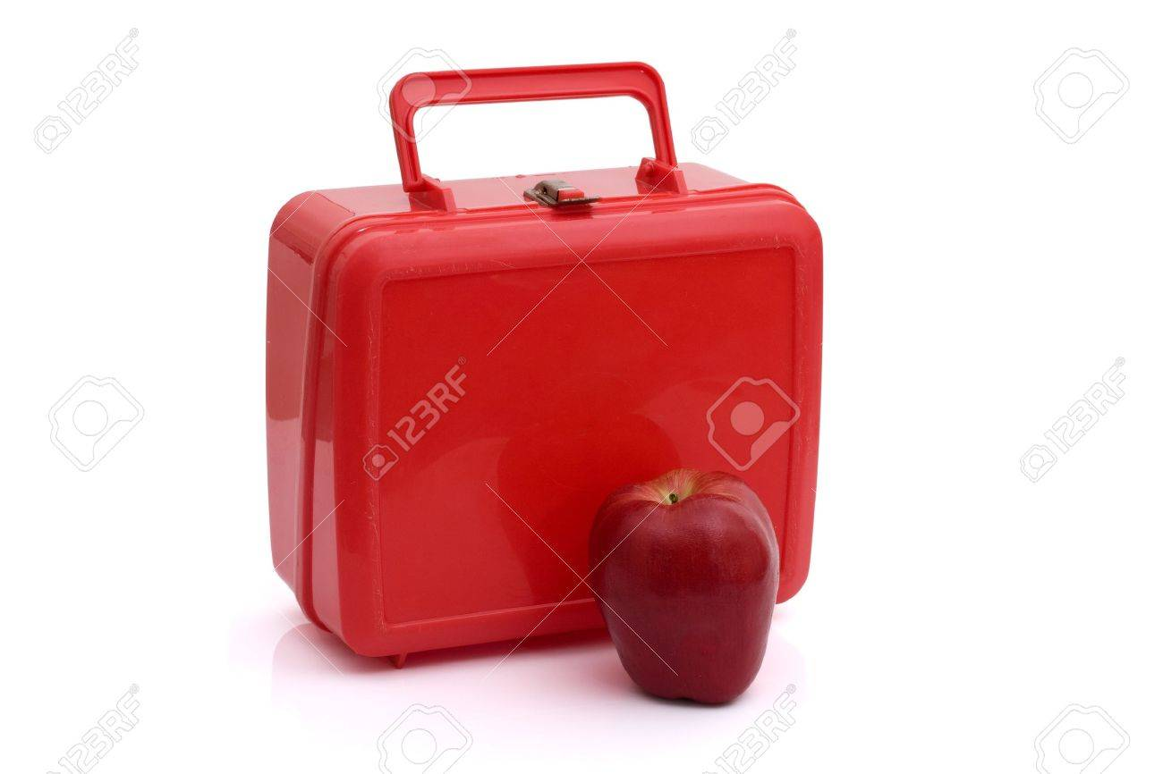 A red lunchbox with an apple isolated on white, Healthy School Lunch Stock Photo - 9881841
