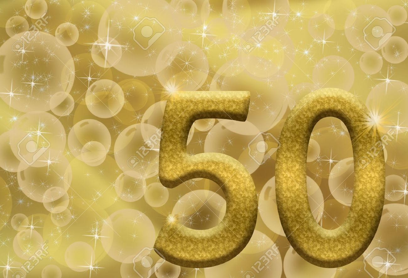 The Number Fifty 50 in Gold