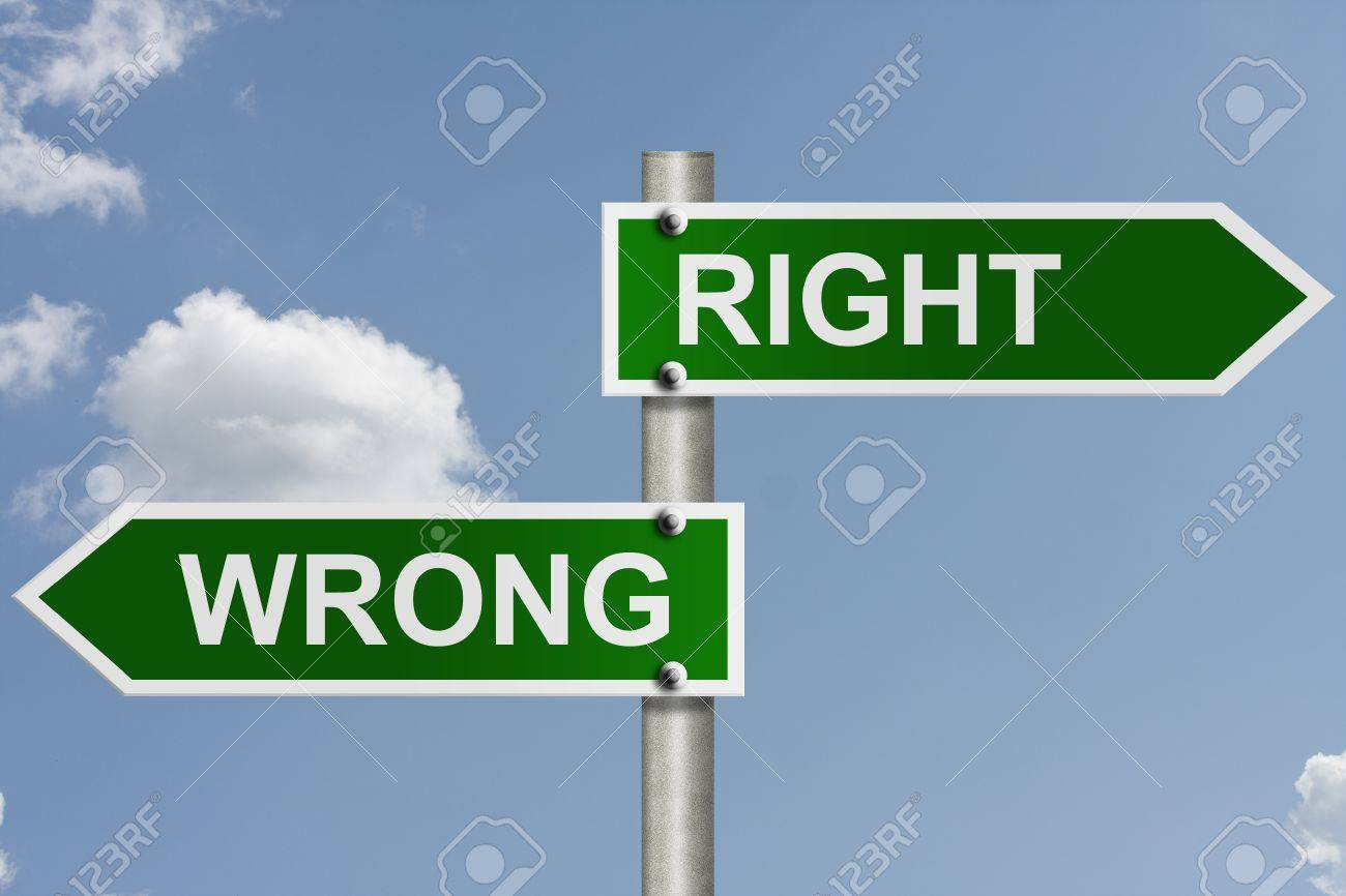 An American road sign with sky background and copy space for your message, The way to right or wrong Stock Photo - 10727644