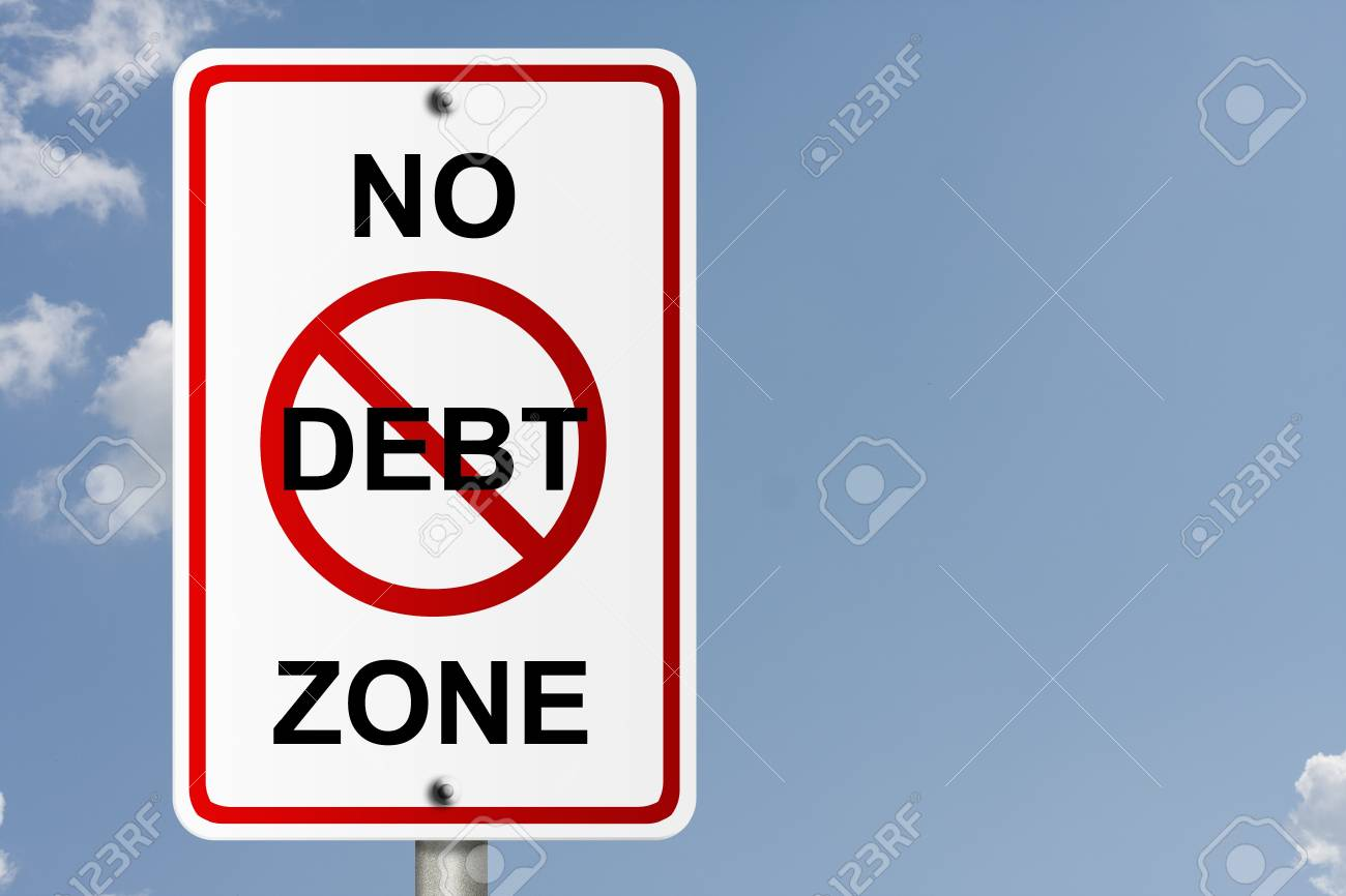 An American road sign with sky background and copy space for your message, No Debt Zone Stock Photo - 10833999
