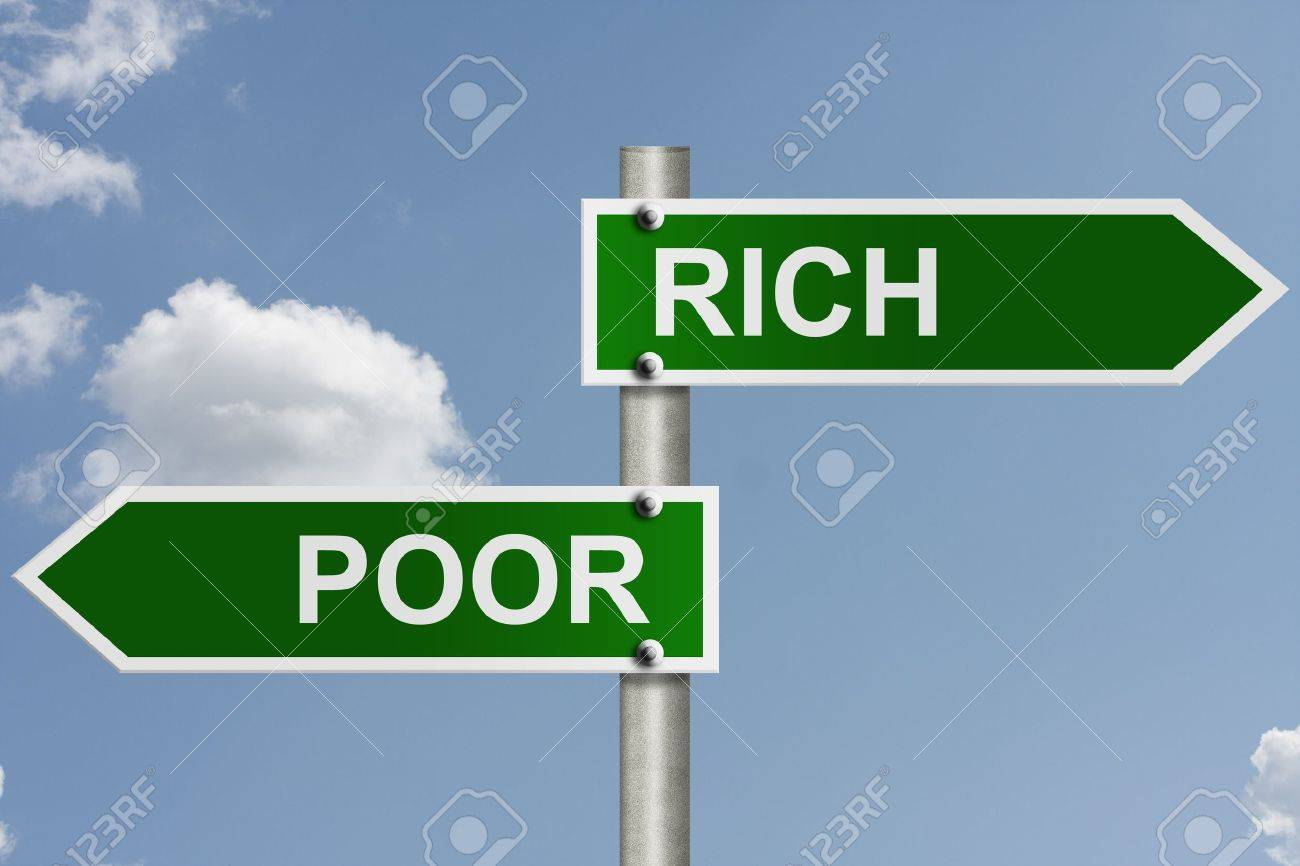 An American road sign with sky background and copy space for your message, The way to rich or poor Stock Photo - 10834009