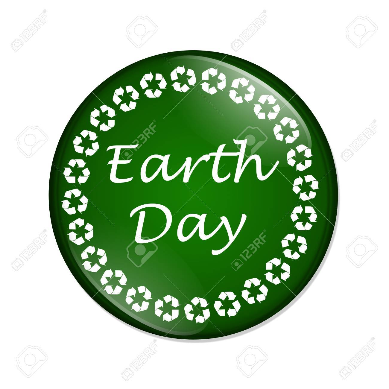 A Green And White Button With Words Earth Day Surrounded By Recycle