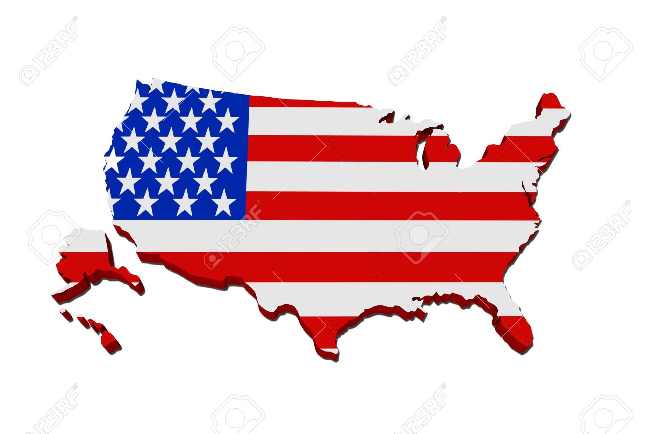 A Red White And Blue Map Of Usa With The American Flag Isolated On White