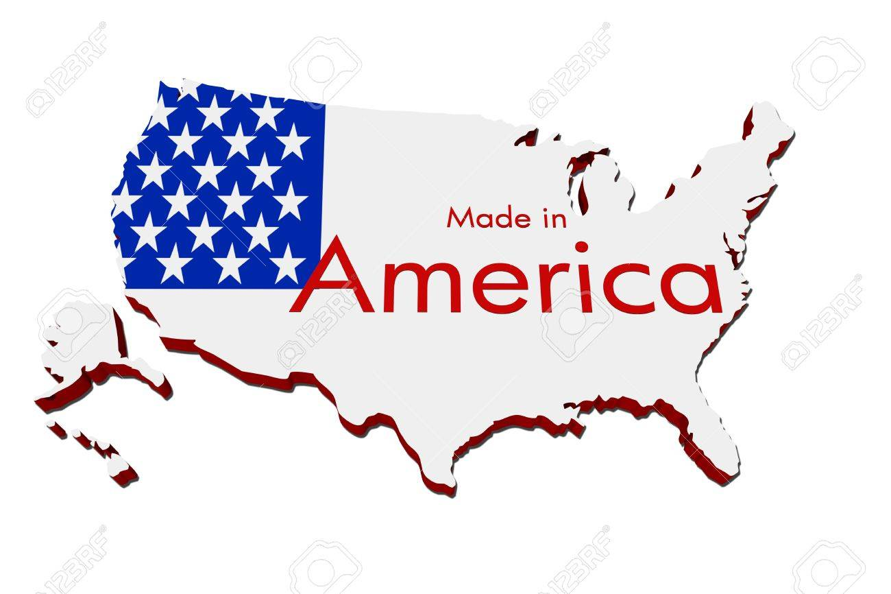 A Red White And Blue Map Of The USA With Made In America Isolated - Us map all white red background