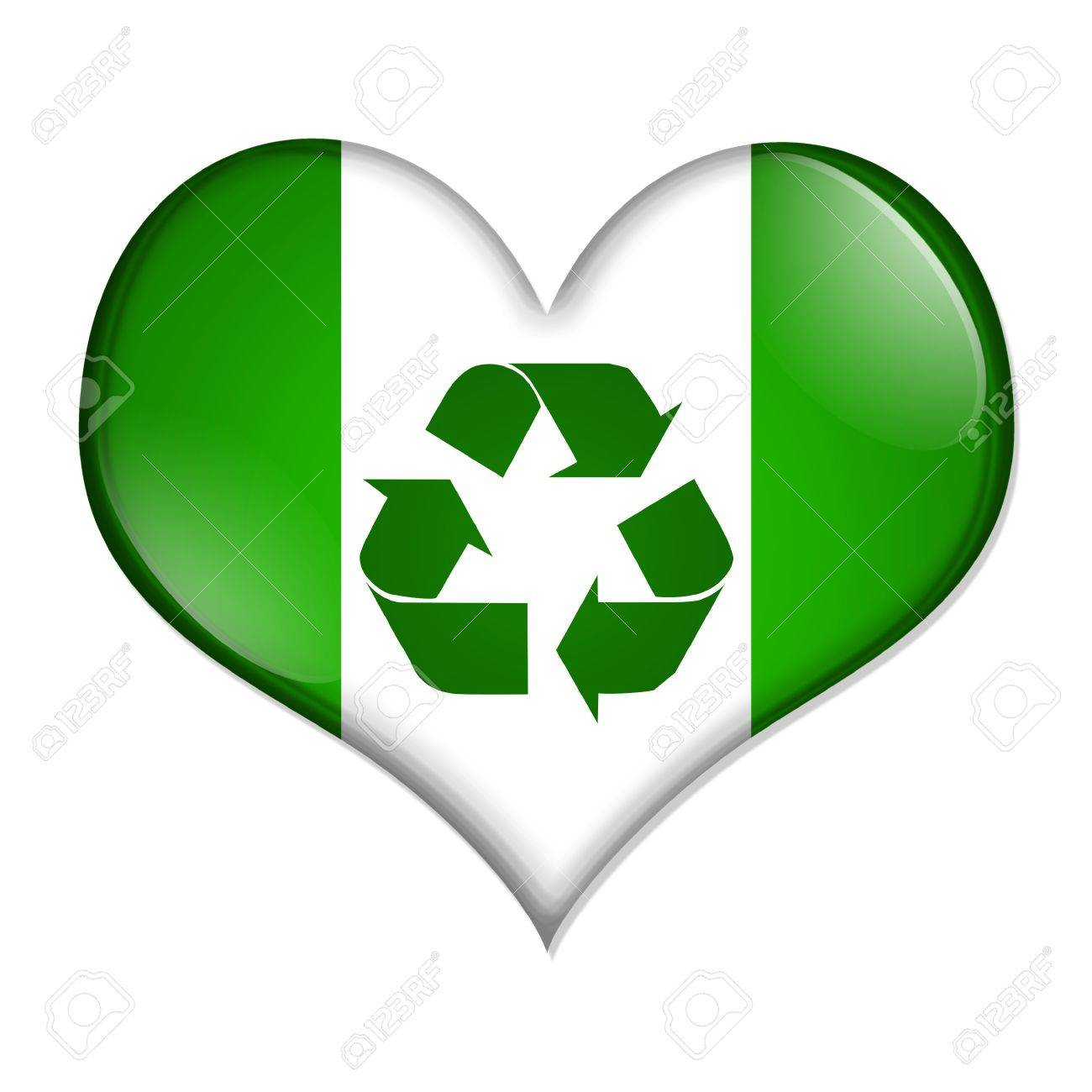 A Green And White Heart Shaped Button With Recycle Symbol Isolated