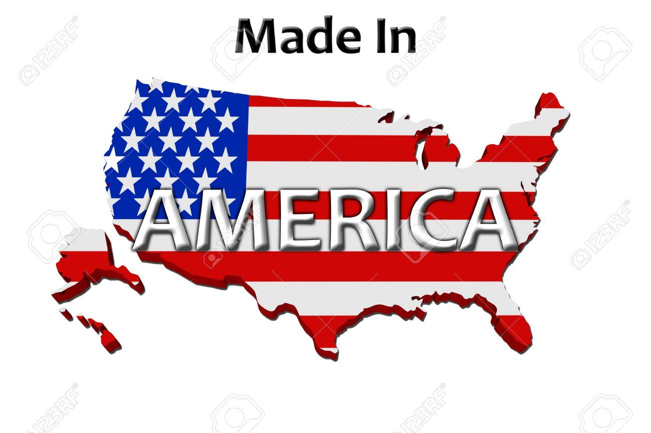 A red, white and blue map of the USA with Made in America isolated on a white background, Made in America Stock Photo - 11161685