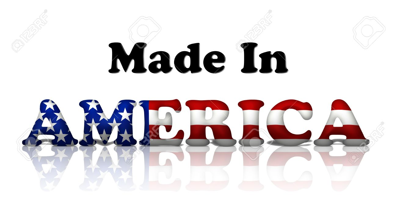 The words made in America in the American flag colors isolated on white Stock Photo - 11272721