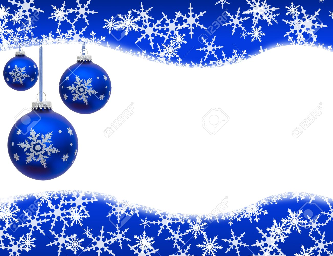 Christmas Ornaments And Snowflake Border Isolated On White, Christmas Time  Stock Photo  11272747