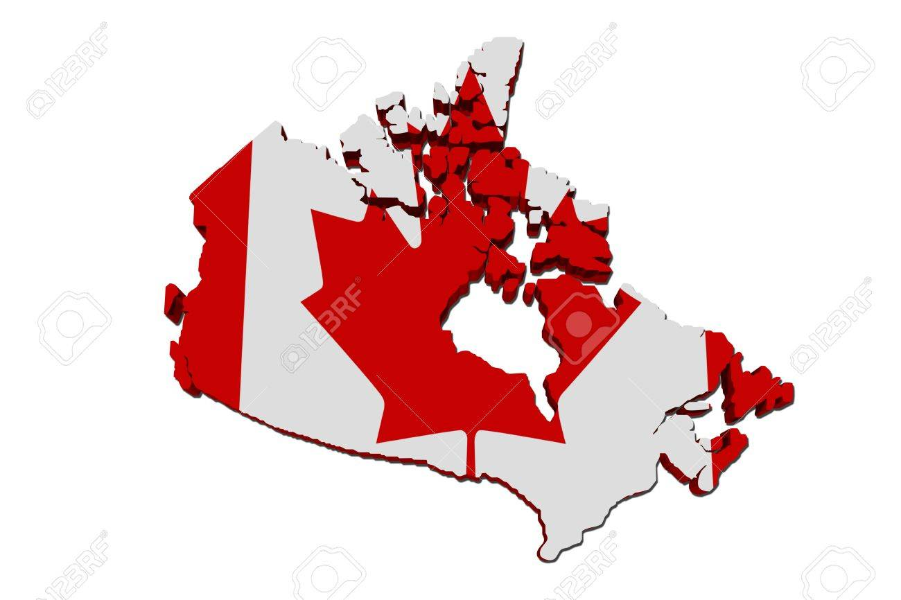 a red and white map of canada with the canadian flag isolated