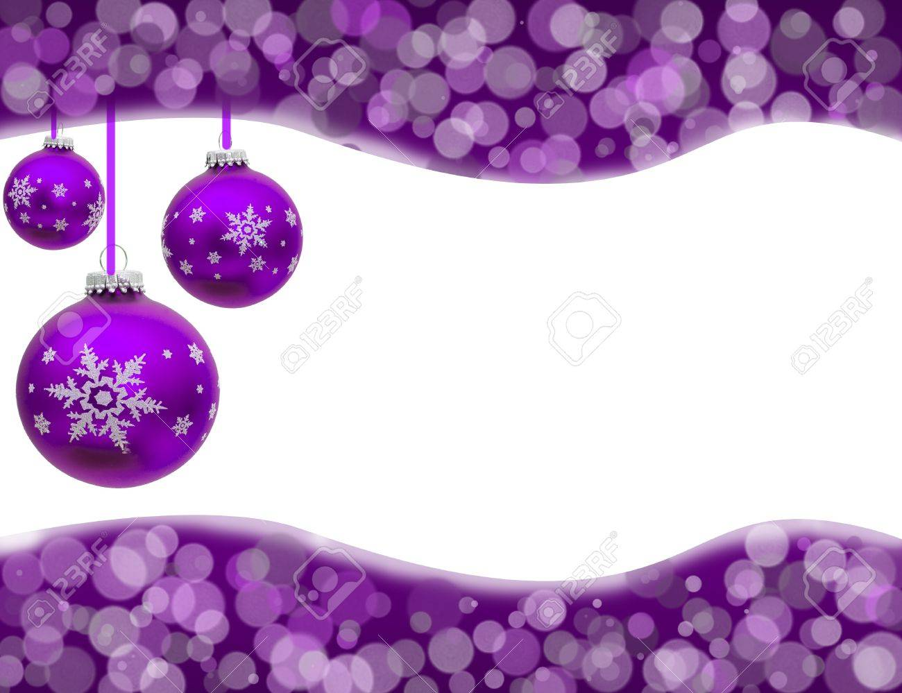 Lavender christmas ornaments - Christmas Ornaments And Light Border Isolated On White Christmas Time Stock Photo 11557947