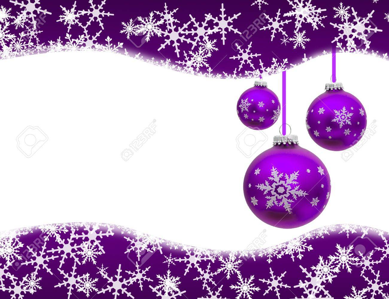 Lavender christmas ornaments - Christmas Ornaments And Snowflake Border Isolated On White Christmas Time Stock Photo 11558187