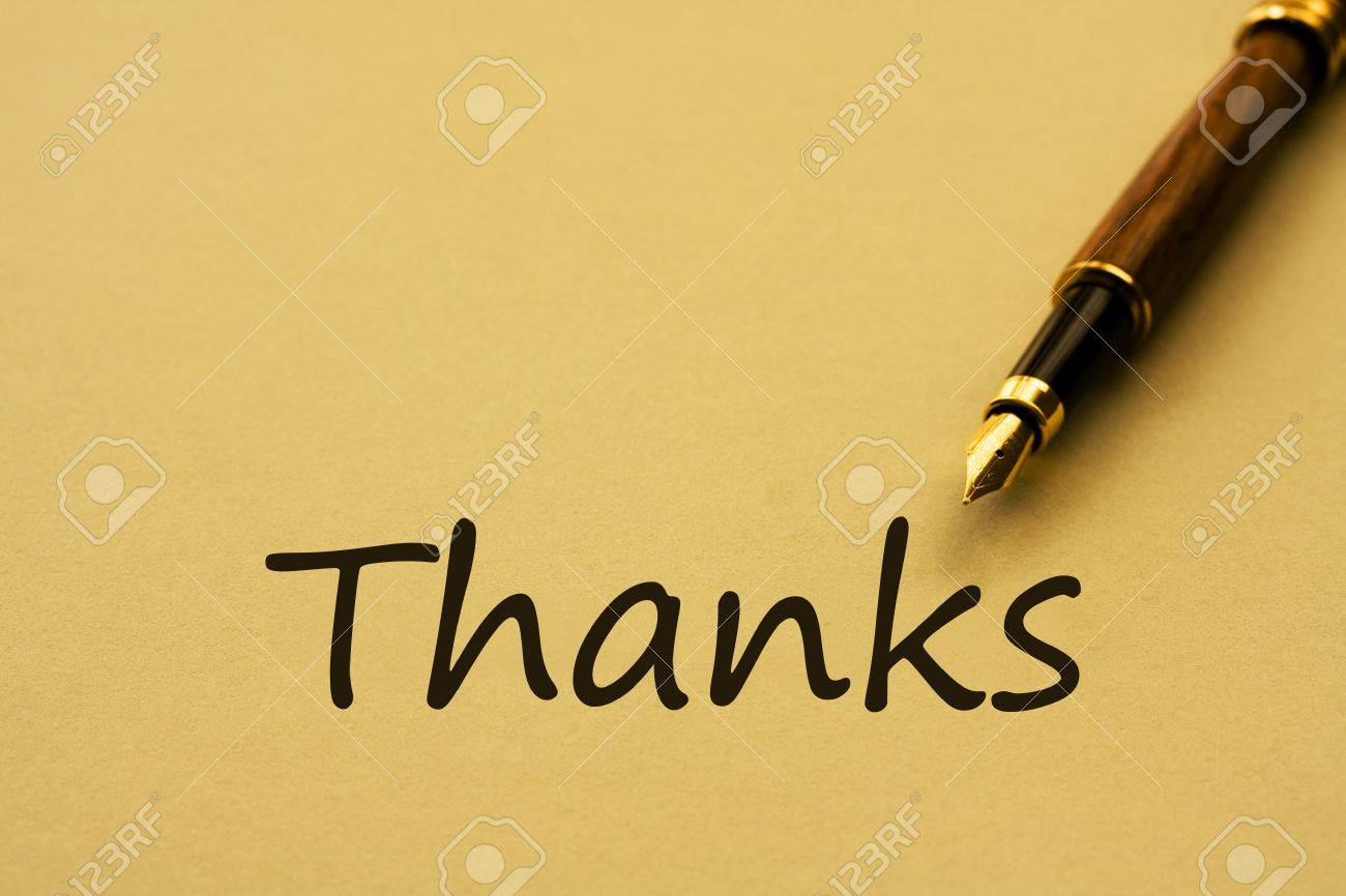 a fountain pen yellow paper and words thanks writing a a fountain pen yellow paper and words thanks writing a thank you letter stock