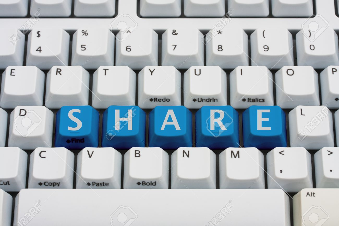 A computer keyboard with blue keys spelling share, Sharing your information - 12358652