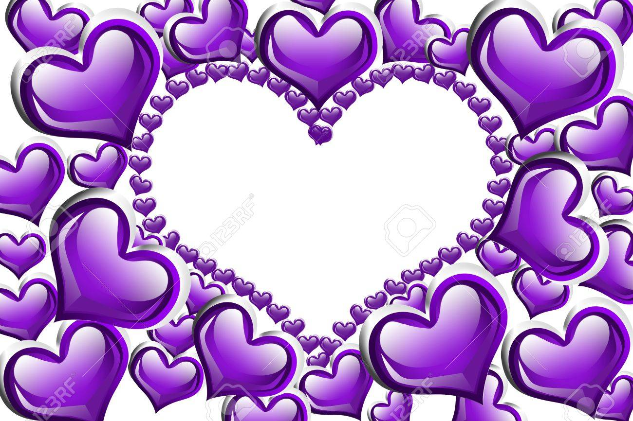 Purple hearts with a copy-space of a heart shape isolated on a white background, Purple Hearts background Stock Photo - 12358632