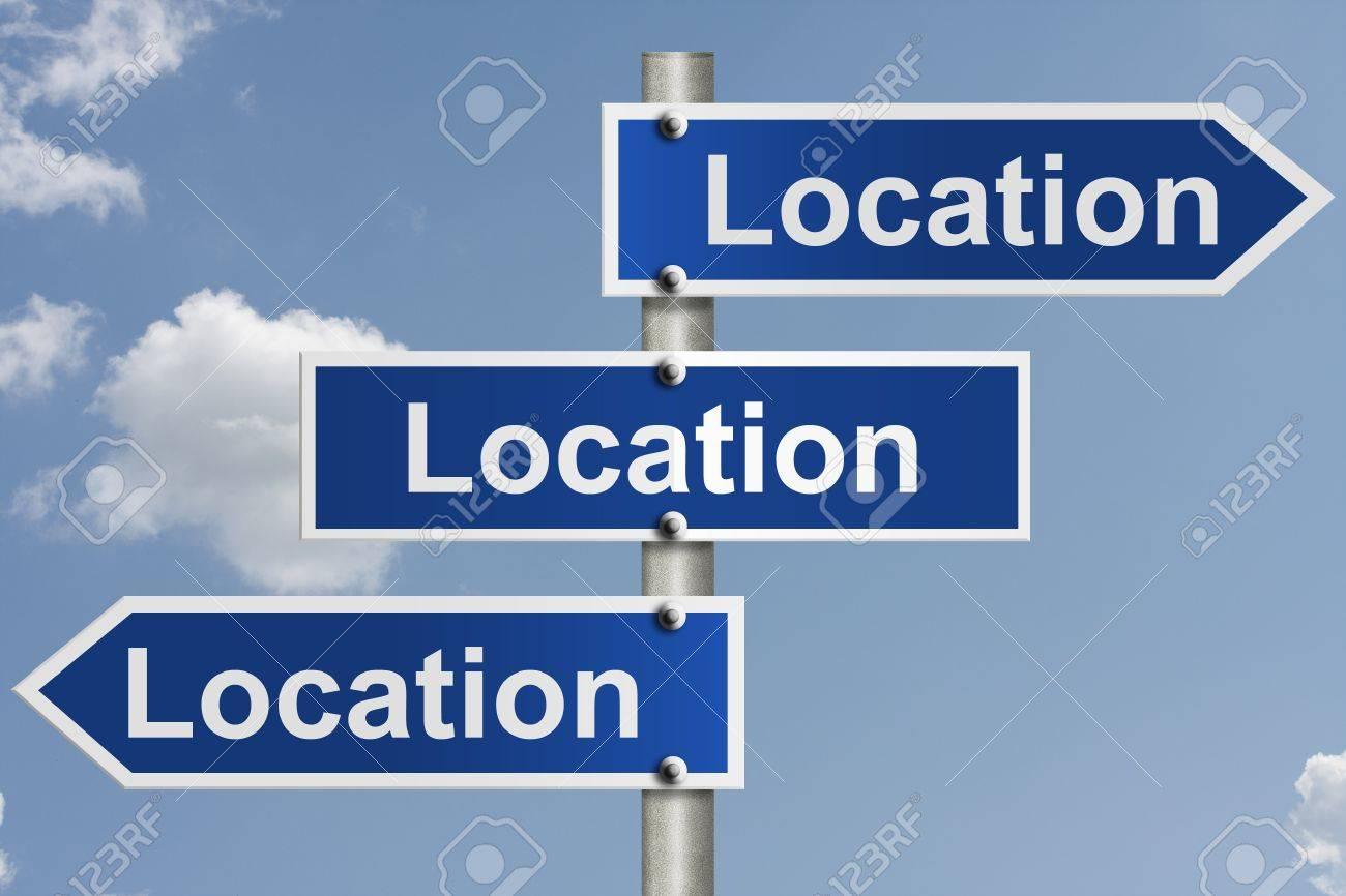 American road signs with the sky with words location, location and location, Real estate is all about the location Stock Photo - 12686493