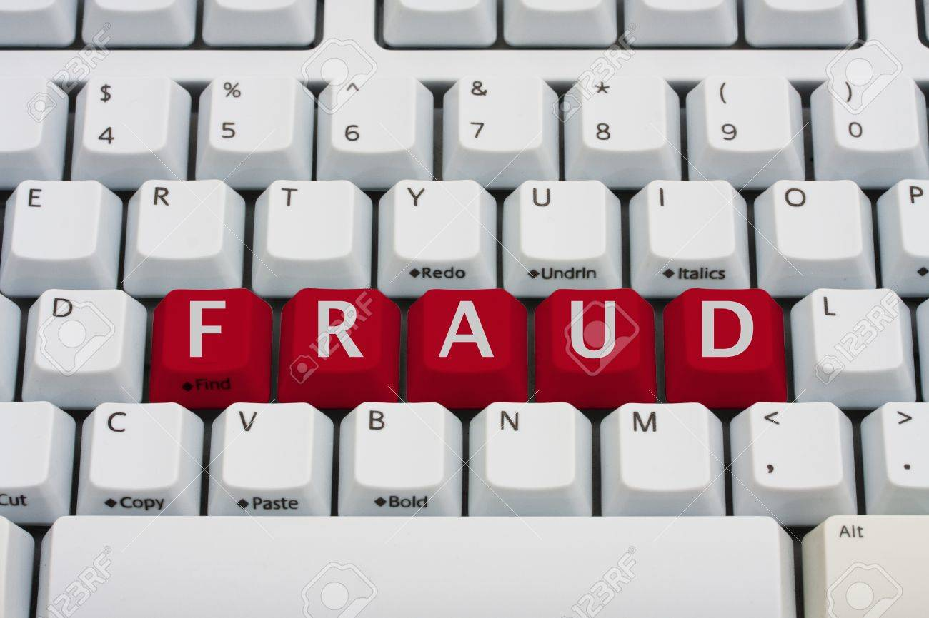 A computer keyboard with red keys spelling fraud, Internet Fraud Stock Photo - 12922465