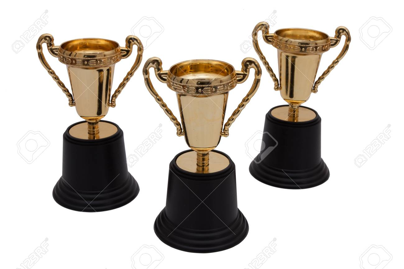 Three gold trophies isolated on white, First, Second and Third Place Stock Photo - 13125690
