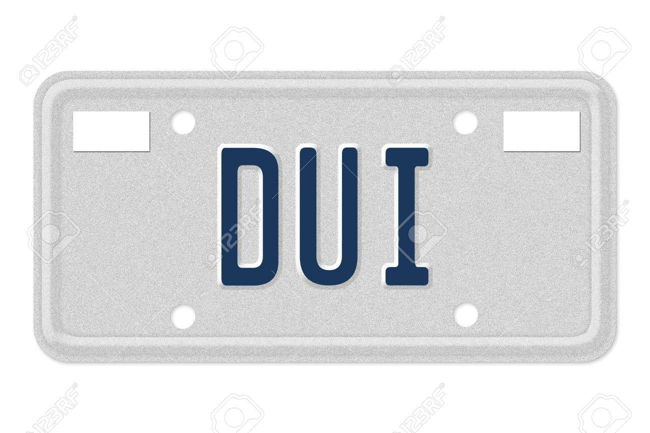 The word DUI in blue on license plate isolated on white, Getting a DUI Stock Photo - 13125704
