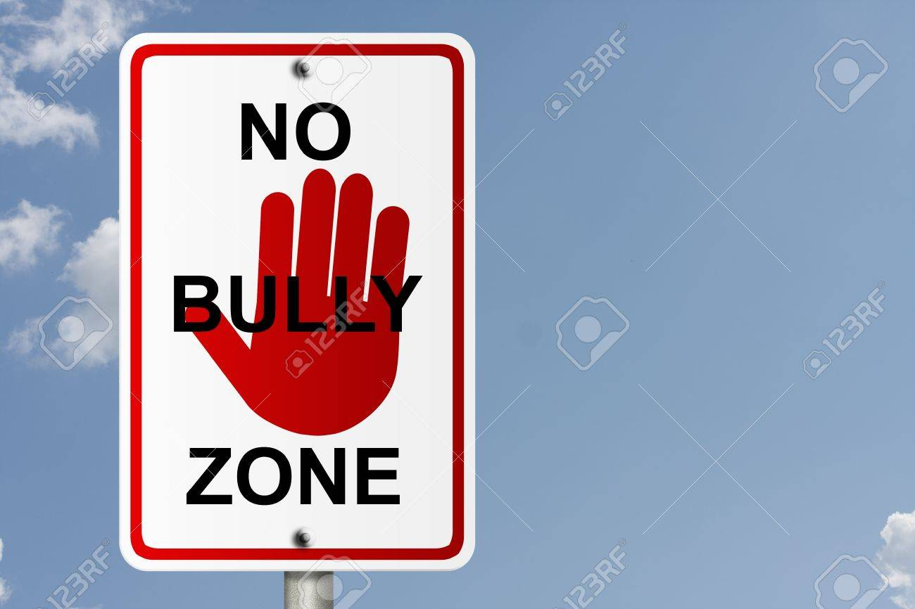 An American road sign with sky background and copy space for your message, No Bully Zone Stock Photo - 13441498