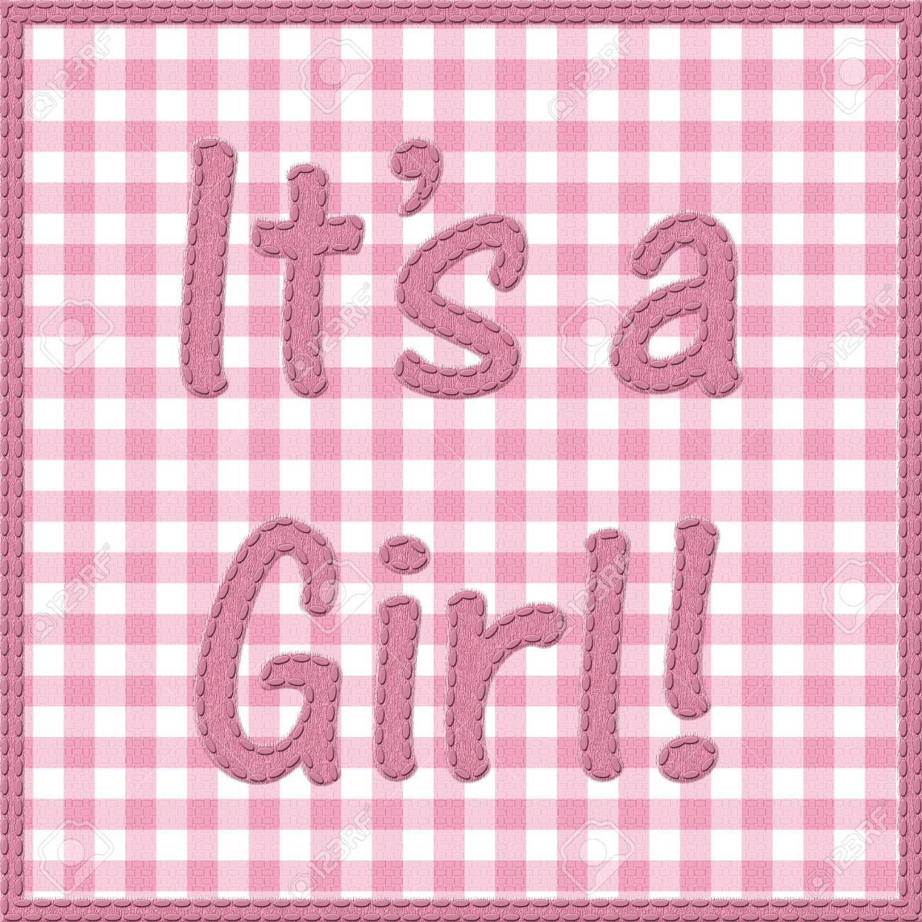 stock photo words it is a girl sewn on pink gingham material it is a girl baby announcement