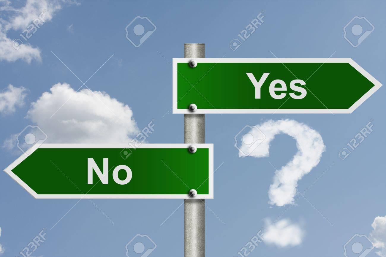 Immagini Stock - An American Segnaletica Stradale Parole Sì E No A Sfondo  Cielo E Un Punto Interrogativo Nuvola, Qual è La Tua Decisione Image  14272913.