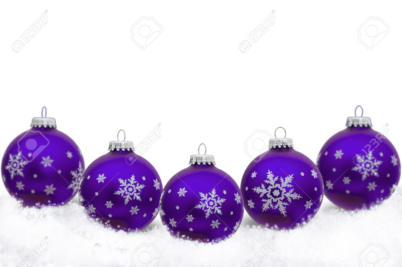 Purple Christmas Ornaments With Snowflakes And Snow Isolated On White Christmas Time Stock Photo