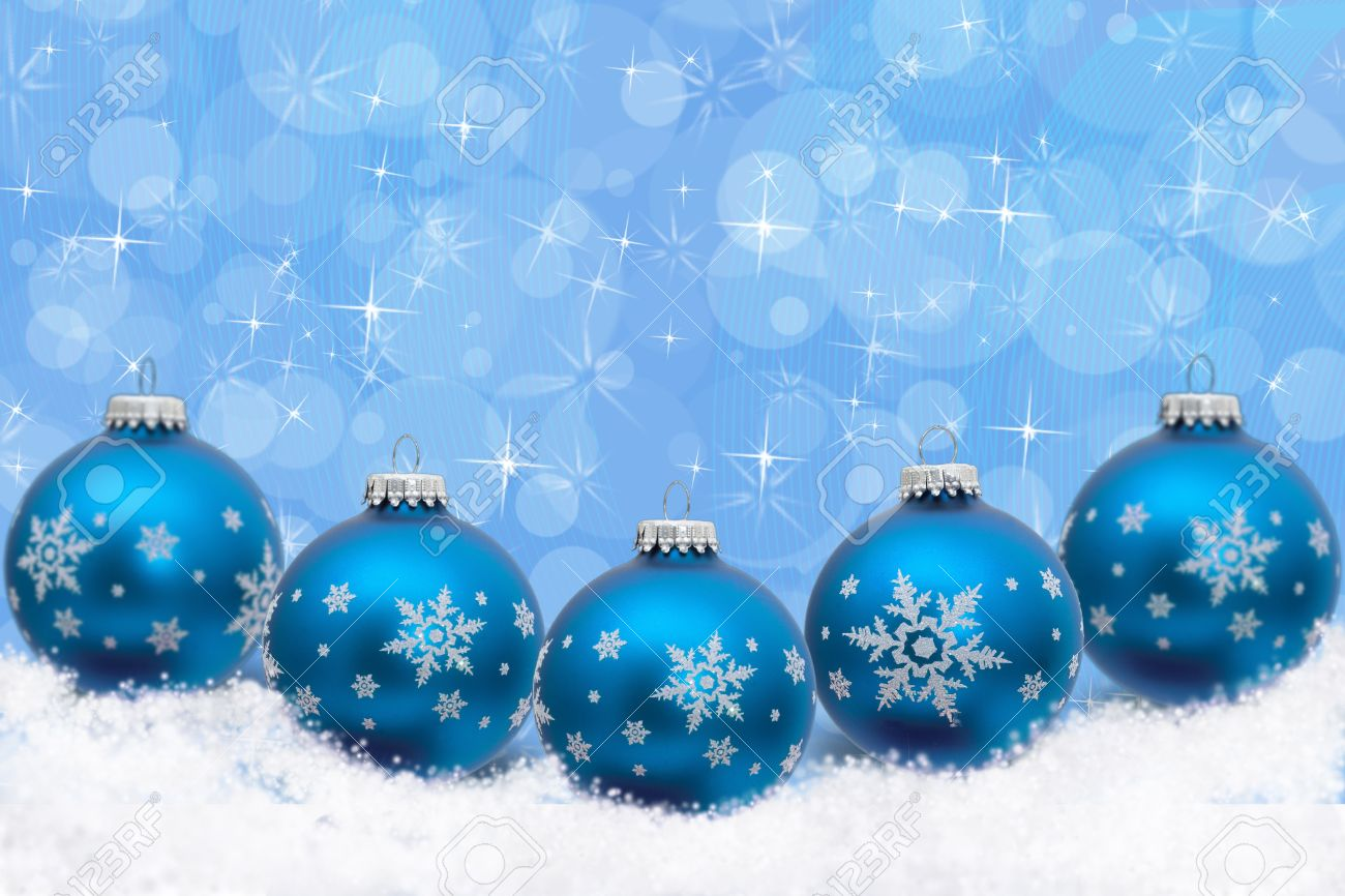 Turquoise Blue Christmas Ornaments With Snowflakes And Snow With A Festive  Turquoise Background, Christmas Time