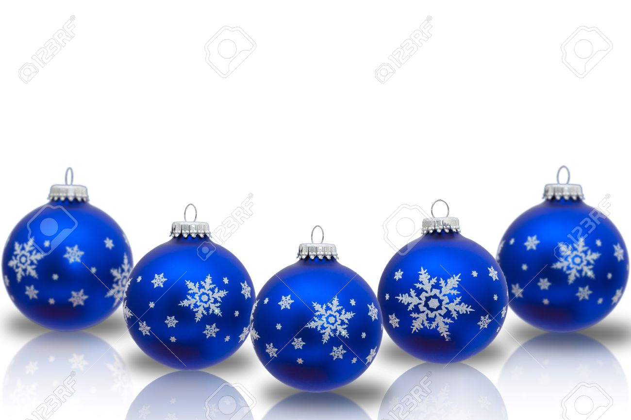 Blue Christmas Ornaments With Snowflakes Isolated On White,.. Stock ...