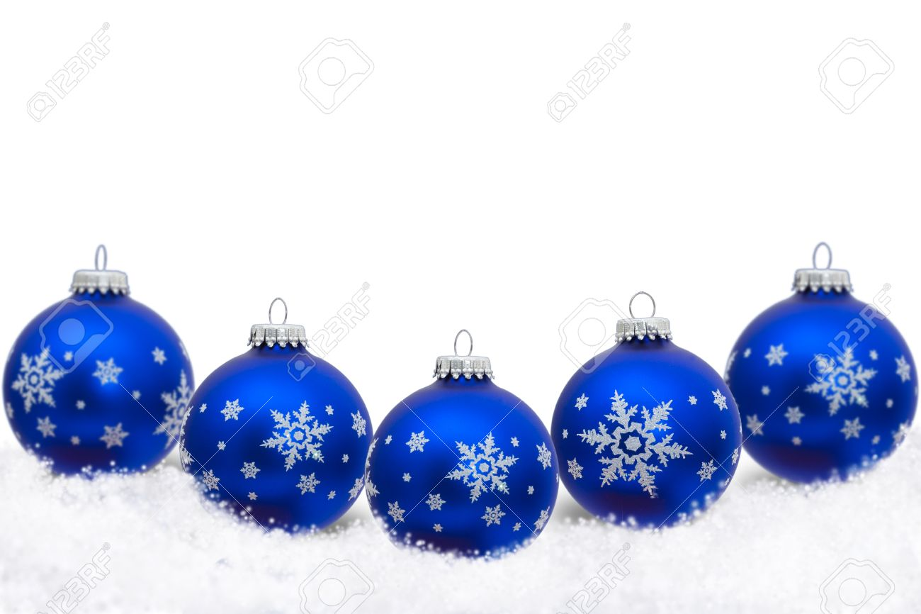 Blue Christmas Ornaments With Snowflakes And Snow Isolated On White,  Christmas Time Stock Photo