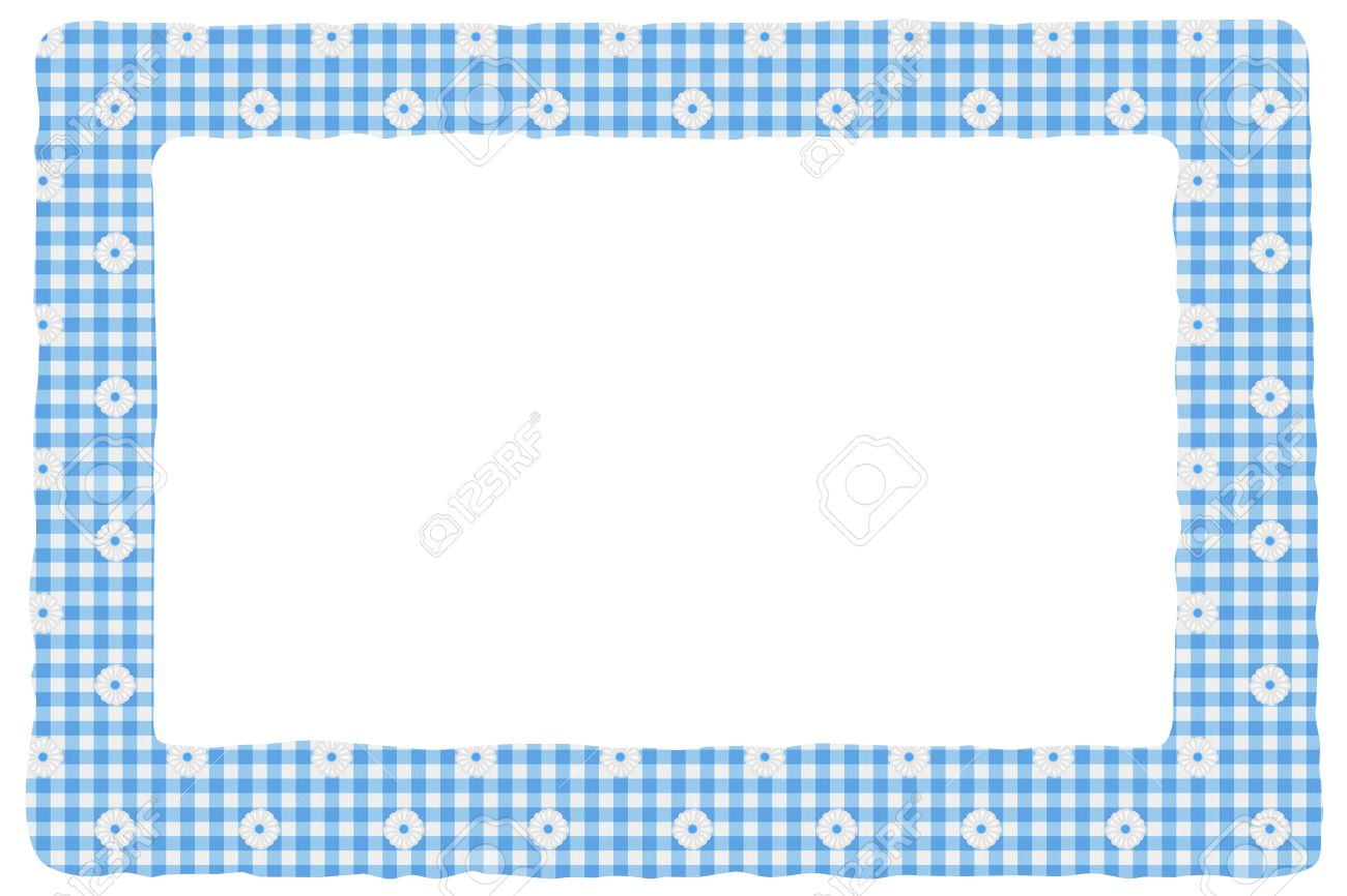 Blue Gingham Material For A Border With Copy-space, Baby ...