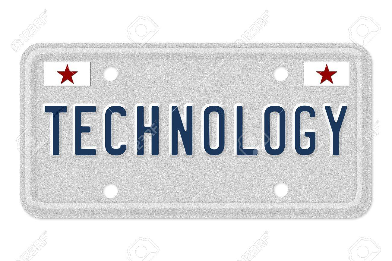 The Word Technology On A Gray License Plate With Stars Symbol
